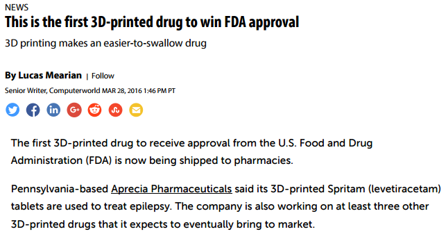 Article on 3D Printed Drugs